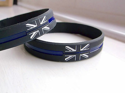 Thin Blue Line England Flagge UK GB Polizei Offizier Mourning Anstecker Armband