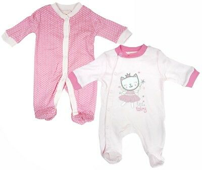 Girls Sleepsuit 2 Value Pack Little Fairy Kitty Rompers Newborn Baby to 9 Months
