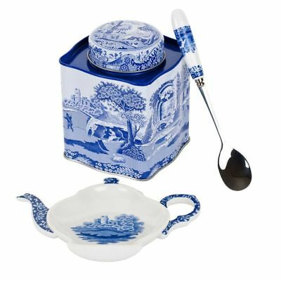 Spode Blue Italian 3 Piece Tea Set - Spoon Rest, Spoon, Tea Caddy