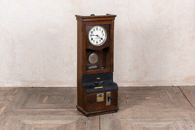 Wooden Clocking In Clock Vintage Time Recording Clock Full Working Order