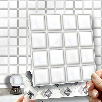 8 White Mosaic Stick On Self Adhesive Wall Tile Stickers For Kitchen & Bathroom