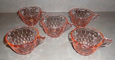 Set of 5 Vintage Pink Depression Glass HEX OPTIC Jeannette Coffee Tea Cups