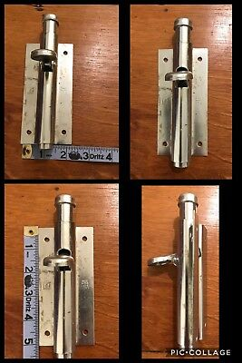 Foot Door Bolt Lock Silver Metal Slide Barrel Latch Old Style Vintage Retro