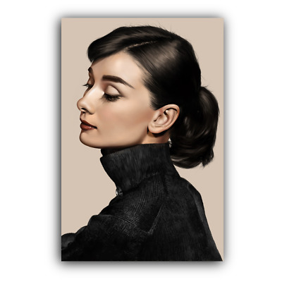 AUDREY HEPBURN CANVAS Framed Wall Art Print - Portrait Head Shot ...