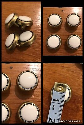 4 Knobs Pulls White CERAMIC & Antique Brass Tone Cabinet Drawer Vintage Retro