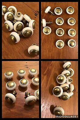 11 Knobs Pulls Round White w/ Brass Tone Rosette Center Drawer Pedestal Vintage
