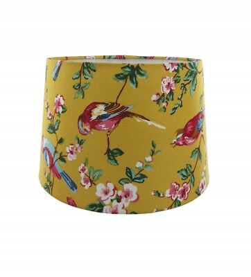 """11"""" Rio Empire Drum Shade In Ochre With Various Birds, Ceiling & Table Lamp Use"""