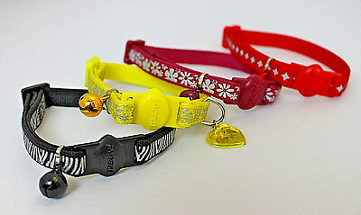 Reflective Cat kitten collar,cat Safety collar with bell Hi Viz safety cat