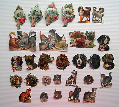 29 x Victorian Scraps - Assorted Dogs Puppies Cats Kittens *