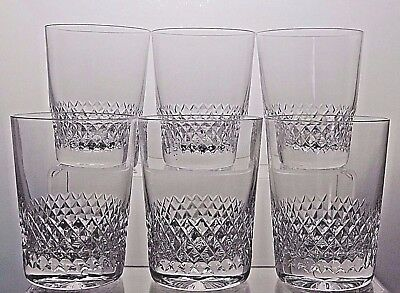 "Stuart Crystal  ""dorchester"" Cut Whisky Tumblers Glasses Set Of 6 - 4 1/8"" Tall"
