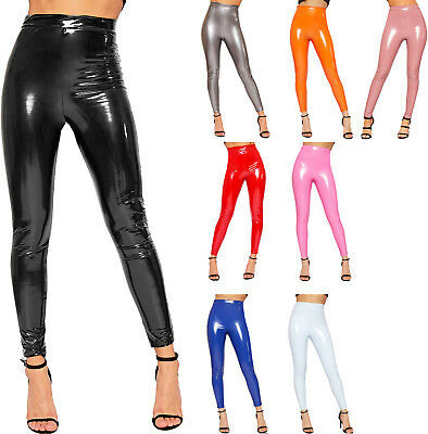 Womens Wet Look Shiny Vinyl High Waisted Elasticated Jeggings Ladies Leggings