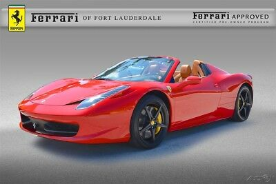 2015 Ferrari 458 Spider Certified CPO Carbon Fiber LED Daytona Sport Exhaust iPod Shields Navigation Sensors Satellite