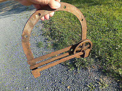 Vintage Antique Barn Door Roller Hanger Horse Shoe Shape With Spinner Wheel