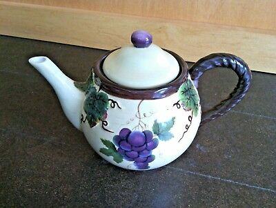 Teapot Pacific Rim Hand Painted Grape Vine China Exclusive Dishwasher Tea Pot t