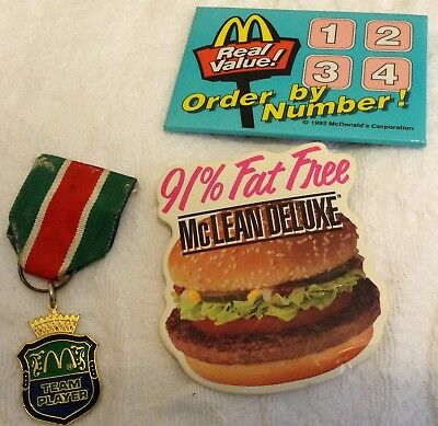 VINTAGE McDonald Mclean Deluxe & Real Value Pins, Also Team Player Pin/Ribbon