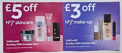 Boots No 7 skincare £5 off and No 7 make-up £3 off voucher (total value £8)