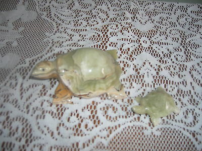 2 Hand carved green stone turtles   Largest is 4 1/2 in. across