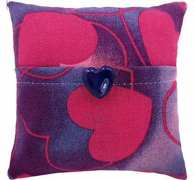 Tooth Fairy Pillow, purple, heart print, purple heart button trim for girls