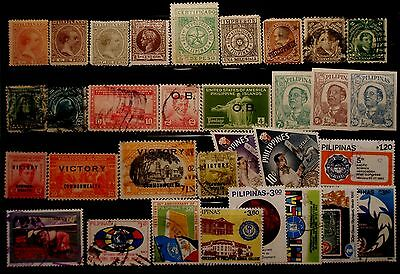 (H227) Philippines Spanish, American, Japanese & Republic stamps used/some mint