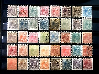 (H009) Spanish Philippines Scott 140-180 complete set, mixed conditions