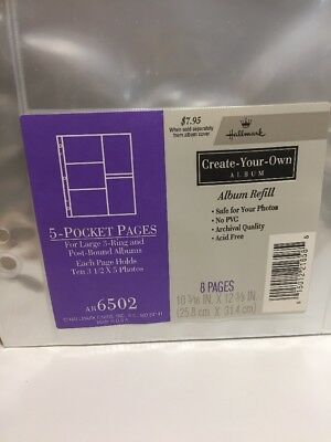"Hallmark AR6502 - 5 Pocket Pages - Large 3 Ring & Post Bound Albums 3.5"" X 5"""