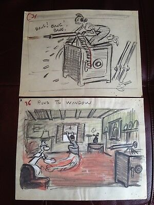 POPEYE THE SAILOR Private Eye Cartoon Storyboard Drawing (Famous Studios, 1954)