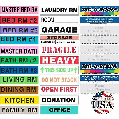 Tag-A-Room Color Coded Home Moving Box Labels with Door IDs, 1000 Count Moving
