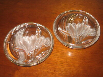 2 Clear Glass Candle Plates Embossed Frosted Freesia Flowers GOLD Swirl ~ Rim