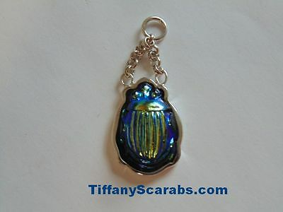 Antique Tiffany Cobalt Blue Favrile Art Glass Scarab Sterling Silver Pendant