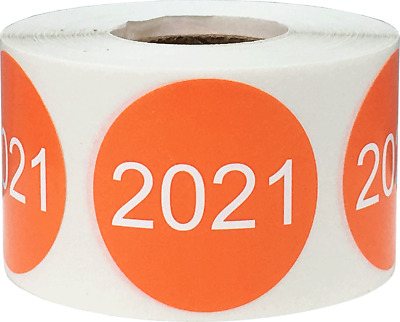 Circle Year Stickers, 1.5 Inches Round, 500 Labels on a Roll, 7 Choices