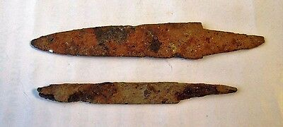 RARE Antique Ancient Authentic Lot of 2 Roman Knife Blade - Artefact Relic