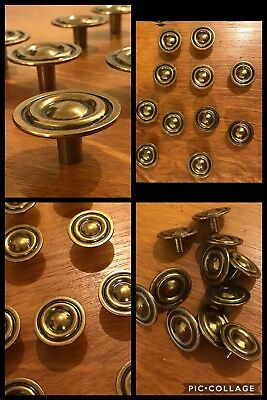 11 Knobs Pulls Round Antique Brass Tone Bullseye Rustic Cabinet Drawer Vintage
