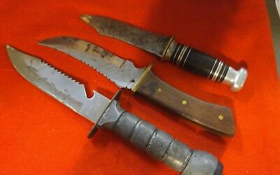 lot of 3 VINTAGE fixed blade knives