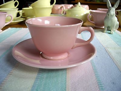 Vintage TS&T Lu-Ray Pastels PINK Tea Cups +  Saucers  ~ Set of 2 ~