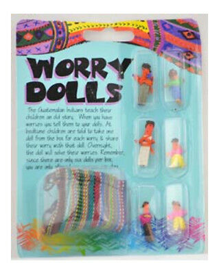 Guatemalan Worry Dolls - Handmade Set of 6 Tiny Dolls with Pouch Bag