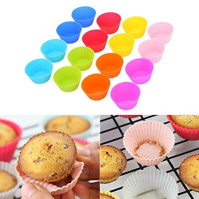 6 - 16 Silicone Round Cup Cake Muffin Cupcake Cases Baking Cup