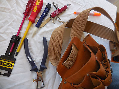 Electricians Leather Tool Bag & Tools