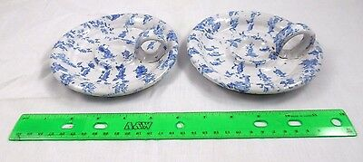Kentucky Bybee Pottery Set (2) Large Blue & White Spongeware Candle Holders
