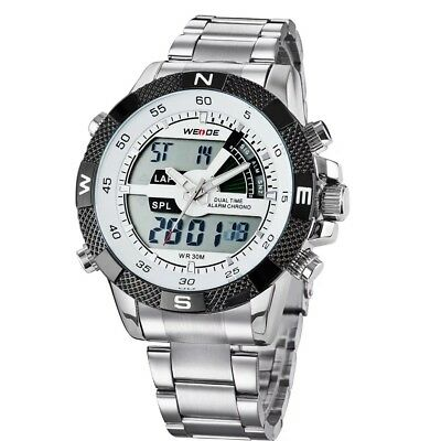 WEIDE Luxury Men's Analog LED Digital Day & Date Display Waterproof Wrist Watch