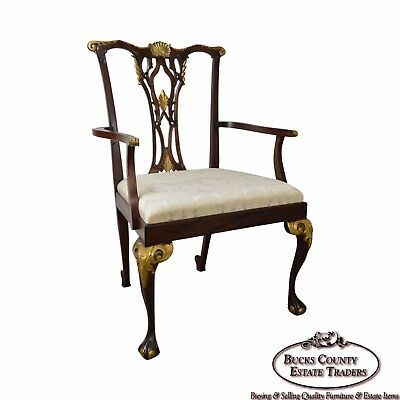 Giant Solid Mahogany Chippendale Style Carved Arm Chair