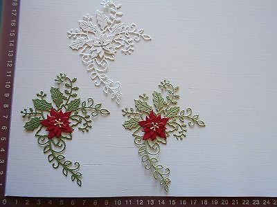 Die cuts - Christmas Holly Spray and Poinsettias x3 Embellishments