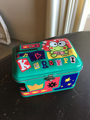 Vintage Sanrio 1996 Kero Keroppi Tin Box With Handle RARE Hello Kitty
