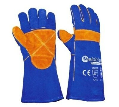 Welding Gloves - 1 Pair 40cm Long PREMIUM Weldclass MIG ARC Promax Blue
