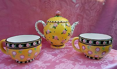 Mary Engelbreit Teapot with 2 cups ME INK 1997 Michel & Company by Charpente