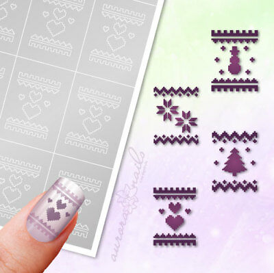 Airbrush Adhesive Stencils WS15 Nailart Knitting Pattern Winter Christmas
