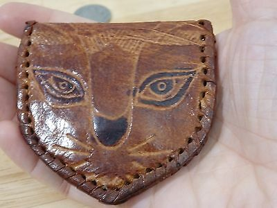 Vintage Cat Face Leather Change Purse. cute kitten kitty boho hippe hipster