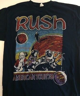 Rush American Tour 1978 Navy Blue Tee Shirt Geddy Lee Neil Peart Size M Concert