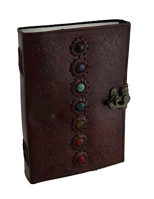 Leather Bound leather Large seven  Stone color full Leather Embossed