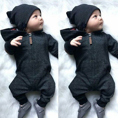 Stock Newborn Baby Infant Boys Romper Zipper Hooded Bodysuit Outfits Clothes