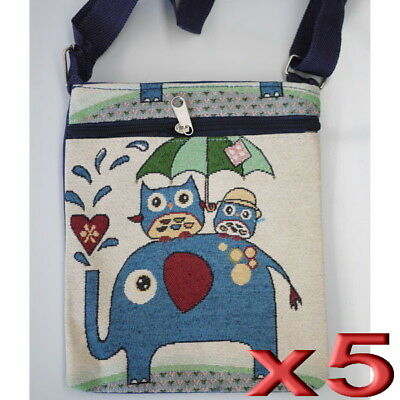 5pc Wholesale Owl Elephant Canvas Long Casual Crossbody Bags Women Girl Handbag